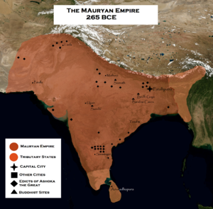 Dasharatha Maurya - Mauryan Empire (Dark Orange) at its maximum extent under Ashoka, including its vassals (Light Orange). The imperium declined under Dasharatha and his successors in a span of a few decades.