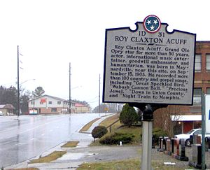 Roy Acuff - THC marker along Maynardville Highway (TN-33) in Maynardville, Tennessee, near where Acuff was born