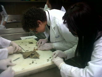Histology - Medical students (EMIS) getting samples from a human stomach for future histological studies in 2012 at Instituto Nacional de Cardiologia in Mexico