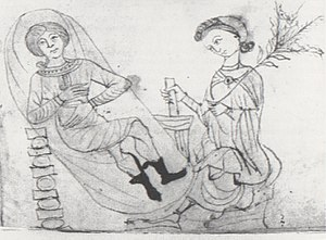Mentha pulegium - A 13th-century image of a woman preparing a pennyroyal mixture using a mortar and pestle for a pregnant woman.
