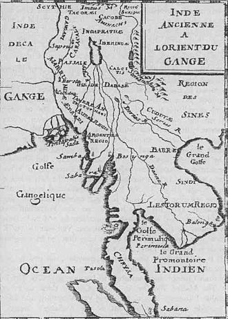 Mekong expedition of 1866–1868 - A French map of 1715,  incorrectly showing  the Chao Phraya River  as a branch of the Mekong