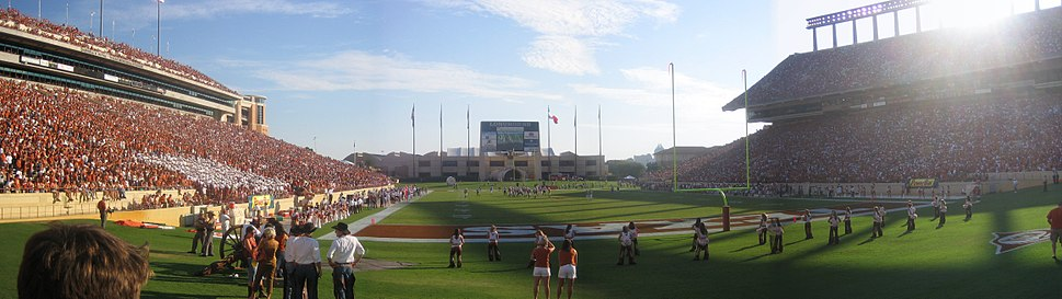 A panorama of the game between the 2005 National Champions and Colorado on October 15, 2005; Texas won 42–17. Smokey the Cannon (lower left) is in the eastern section of the north end zone. The 2007 expansion brought the seats closer to the field so the cannon was relocated to the southeastern corner of the stadium.