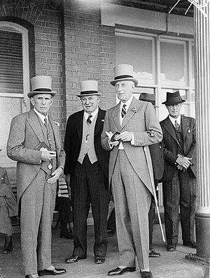 Morning dress - Men in morning grey suits at the races in Australia, in 1937
