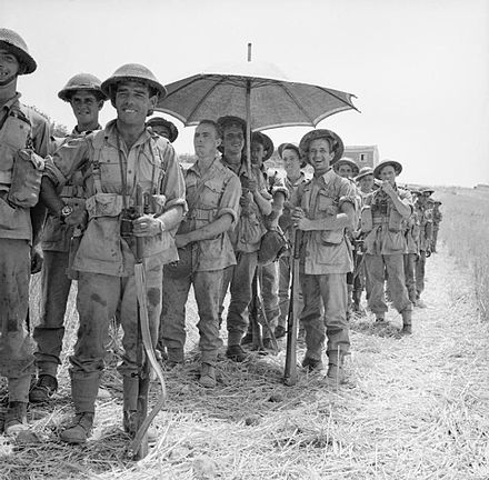 Men of the 6th Battalion, Royal Inniskilling Fusiliers, British 78th Division, await orders to move into Centuripe, Sicily, 2 August 1943. Men of the 6th Battalion, The Royal Inniskilling Fusiliers, 78th Division, await orders to move into Centuripe, Sicily, 2 August 1943. NA5413.jpg