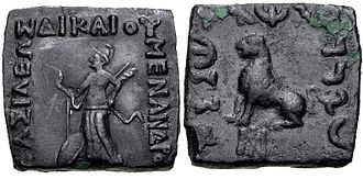 Menander II - Menander II with Nike making a blessing gesture and seated lion.