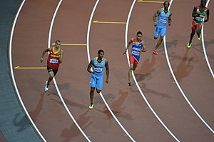 Athletics at the 2012 Summer Olympics – Men's 400 metres - The final turn of the 400 metres final L-R K. Borlée, Pinder, Santos, Brown, James