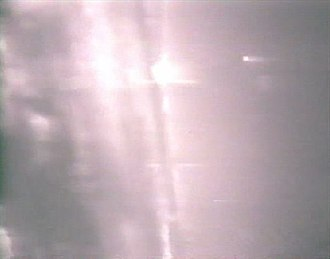 1989 air battle near Tobruk - Gun camera still of the lead F-14 showing the last remaining MiG-23 exploding after being hit by an AIM-9 Sidewinder missile