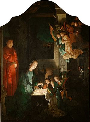 Nativity at Night - Michael Sittow's version of Hugo van der Goes' original, c. 1510–20, keeping the original orientation.
