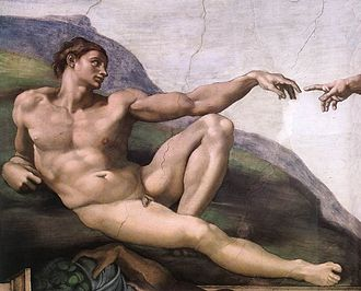 The Creation of Adam, detail from Michelangelo's fresco in the Sistine Chapel (1511) Michelangelo, Creation of Adam 03.jpg