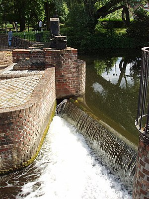 River Colne, Essex - Middlemill weir, in the centre of Colchester