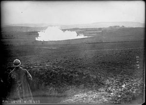 Tunnel warfare - Explosion of a mine seen from a French position. 1916