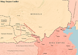 Ming–Turpan conflict - Map showing the location of Ming-Turpan Conflict, Hami