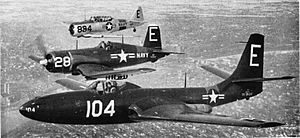 McDonnell FH Phantom - Three aircraft of the Minneapolis U.S. Naval Air Reserve (front to back): an FH-1 Phantom, an F4U-1 Corsair, and an SNJ Texan in 1951.