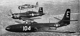 McDonnell FH Phantom - Three aircraft of the Minneapolis U.S. Naval Air Reserve (front to back): an FH-1 Phantom, an F4U-1 Corsair, and an SNJ Texan in 1951.