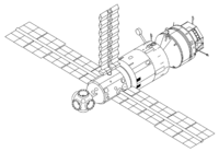Mir's configuration after the arrival of Kvant-1 in 1987