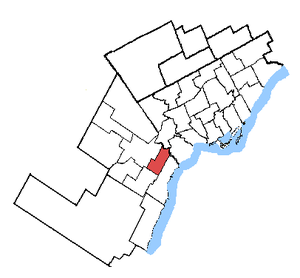 Mississauga East—Cooksville - Mississauga East—Cooksville in relation to other Greater Toronto ridings (2003 boundaries)