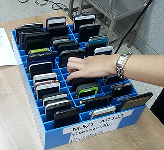 Mobile phone overuse - A mobile phone cage used for keeping the students' phones away from them to stop their uses of mobile phones during the class as the school's act on Mobile phone use in schools