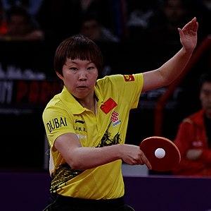 Zhu Yuling - Image: Mondial Ping Women's Singles Quarterfinal Zhu Yuling Feng Tianwei 18
