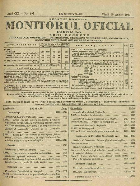 File:Monitorul Oficial al României. Partea 1 1941-08-15, nr. 192.pdf