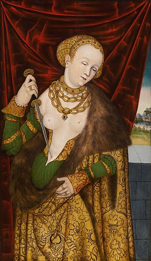 Lucretia - Lucrecia, 1525, Monogrammist I.W. active in the Cranach studio c. 1520–40. The most common type of depiction.