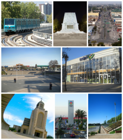 Top left:Maipu Metro, Top middle:Monument of Vencedores de Bailen, Top right:April 5 Avenue (Avenida 5 de Abril), Middle left:Maipu Armas Square (Plaza de Armas de Maipu), Middle right:Maipu Municipal Theater (Teatro Municipal de Maipu), Bottom left:Votivo Temple (Templo Votivo), Bottom middle:Maipu Arauco shopping area, Bottom right:Santiago Bueras Stadium (Estadio de Santiago Bueras)