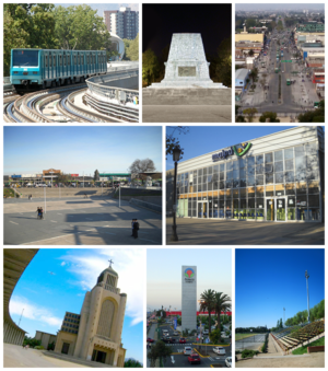 Maipú, Chile - Top left:A Santiago Metro train arriving in Maipú, Top middle: Battle of Bailén Memorial, Top right: April 5th Avenue, Middle left: Maipú Main Square, Middle right: Maipu Municipal Theater, Bottom left: Votive Temple, Bottom middle: Mall Arauco Maipú, Bottom right: Santiago Bueras Stadium