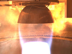 Morpheous Project liquid methane-LOX spacecraft engine test 2009.jpg