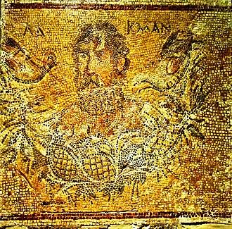 Jordanian wine - Roman mosaic in Jerash, Jordan showing the Greek poet Alcman drinking wine. Late 2nd-3rd century AD