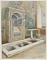 Mosaic fountain with three pools in Pompeii watercolor by Luigi Bazzani.jpg
