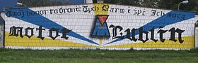 Motor Lublin football club graffiti by an unknown supporter. Lublin, Poland
