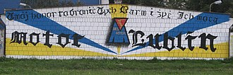 Motor Lublin - Motor Lublin graffiti by an unknown supporter. Your honour is to defend these colours and to live through their power.