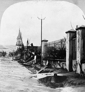 Mount Pelée - Main Street, Le Morne-Rouge, after the August 30 eruption