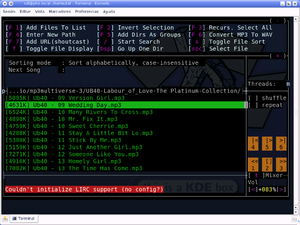 Snapshot of the software mp3blaster running un...