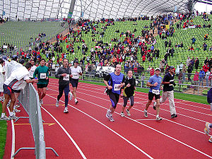 Milbertshofen-Am Hart - Finish of the Munich Marathon in the Olympic Stadium
