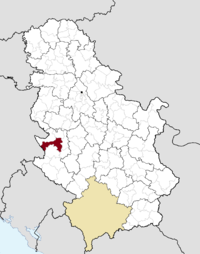 Location o the municipality o Užice within Serbie