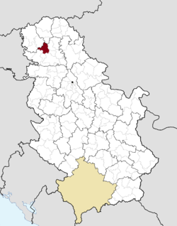 Location of the municipality of Vrbas within Serbia