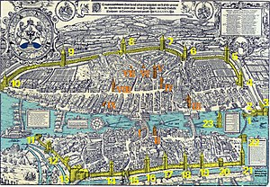 Fortifications of Zürich - The city fortifications as shown on the 1576 Murerplan are coloured in yellow