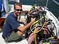 NEEMO 9 training Hein prepares equipment.jpg