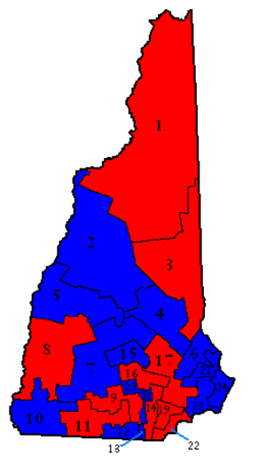 New Hampshire General Court - New Hampshire Senate Districts for the 160th Session, with Republican seats in red and Democratic seats in blue