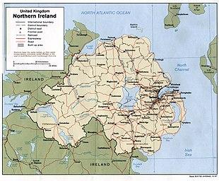 Karte von Nordirland im Jahr 1998