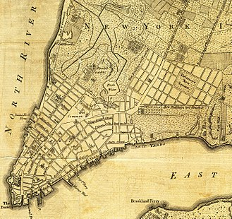 Commissioners' Plan of 1811 - A portion of a map of the city from 1776; De Lancey Square and the grid around it can be seen on the right