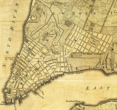 a portion of a map of the city from 1776 de lancey square and the grid around it can be seen on the right