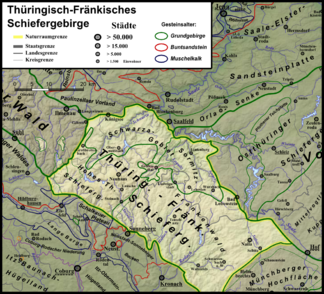 The Thuringian-Franconian Slate Mountains with the Franconian Forest in the southeast