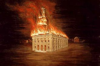 Nauvoo Temple - Nauvoo Temple burning