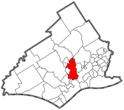 Location of Nether Providence Township in Delaware County