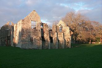 Netley Abbey - Façade of the reredorter (communal latrine), with the windows of the Tudor long gallery on the left