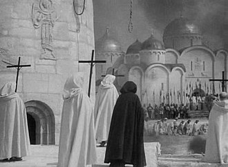 Christianity in the 13th century - The Teutonic Knights in Pskov in 1240 as depicted in Sergei Eisenstein's Alexander Nevsky (1938).
