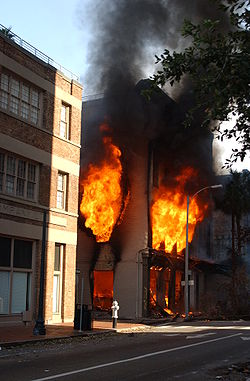 A fire raged in a downtown business the morning of September 2.