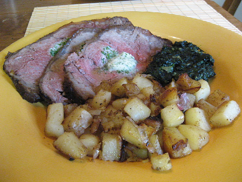 New York strip steak with Beurre Maitre d'Hotel, potatoes and creamed spinach.jpg