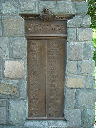 Newfoundland Royal Naval Reserve - A plaque listing the names of the members of the Newfoundland Royal Naval Reserve who died during World War I and have no known grave.